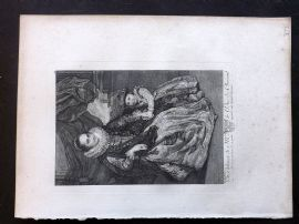 After van Dyck C1820 Antique Print. Woman & Child